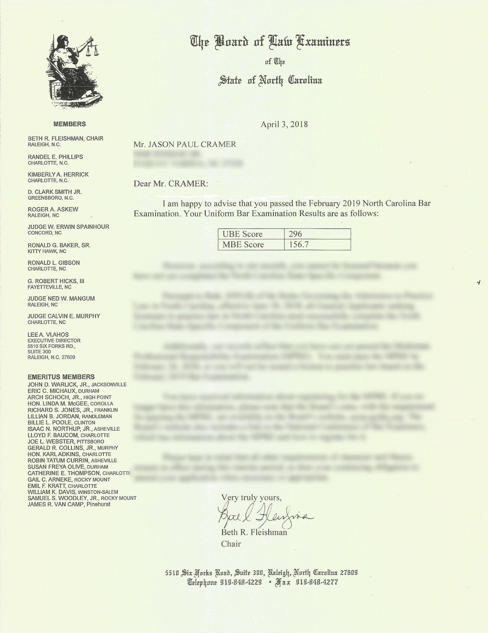 North Carolina Bar Pass Notice (alt)