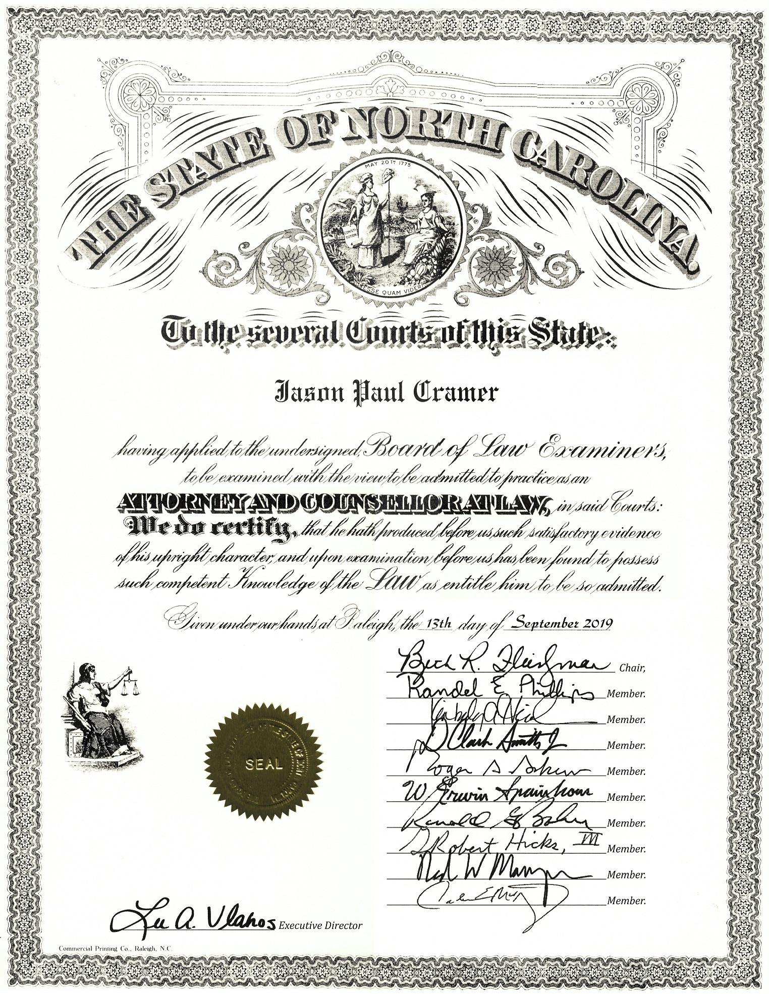 NC Law License (alt)