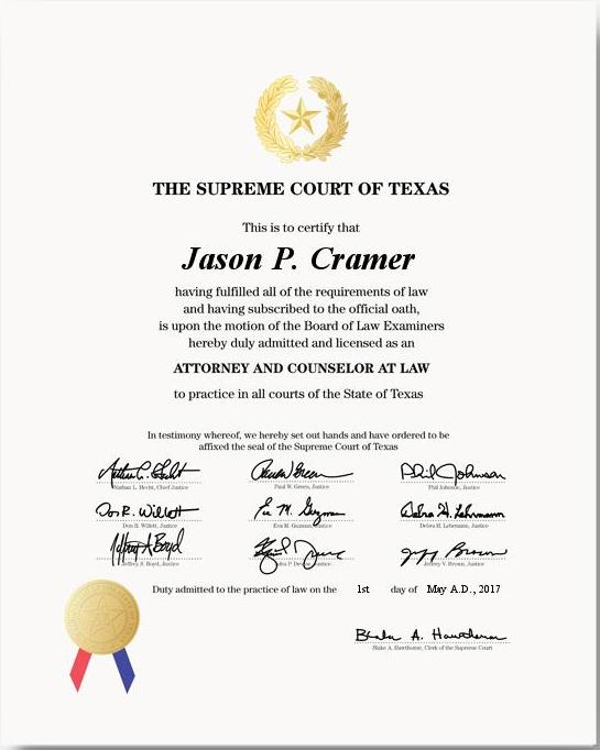 Texas Law License (alt)